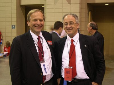 Bill Olson supporting Delegate Bob Marshall (R-VA) for U.S. Senate at Virginia Republican Convention.